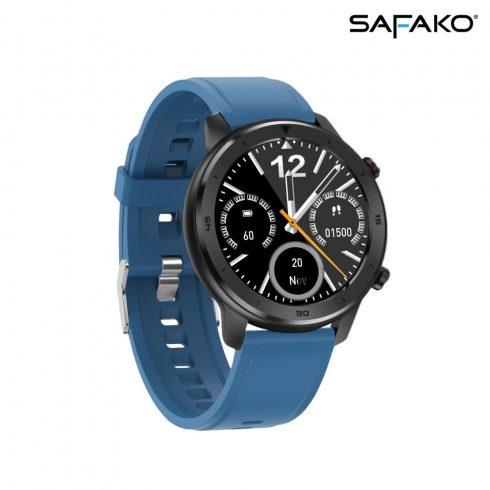 Ceas inteligent  Safako SWP55 negru cu curea de silicon albastră
