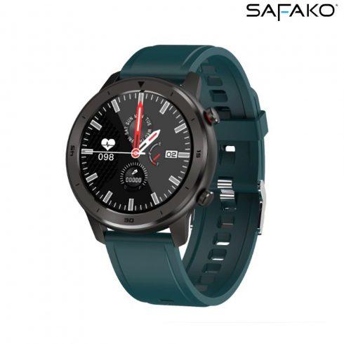 Ceas inteligent Safako SWP55 negru cu curea de silicon verde