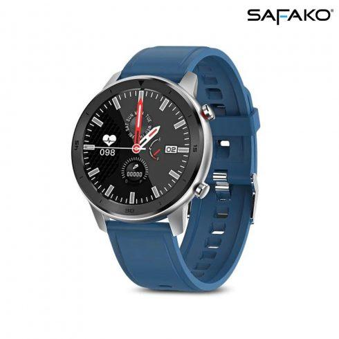 Ceas inteligent Safako SWP55 argintiu,  cu curea de silicon albastră