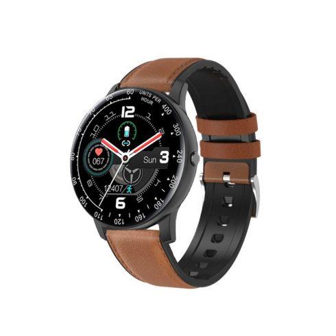 Safako SWP56, ceas inteligent, negru - curea silicon cu învelis piele maro