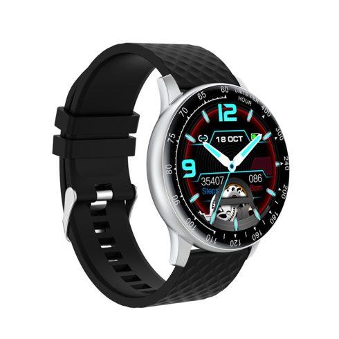 Safako SWP56, ceas inteligent, argintiu - curea silicon neagră