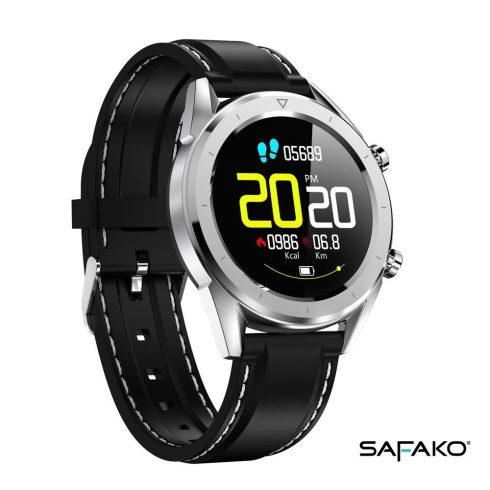 Ceas inteligent Safako SWP70 argintiu cu curea neagră