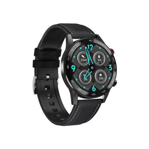 Safako SWP95 BT, ceas inteligent, negru - curea silicon cu învelis piele neagră