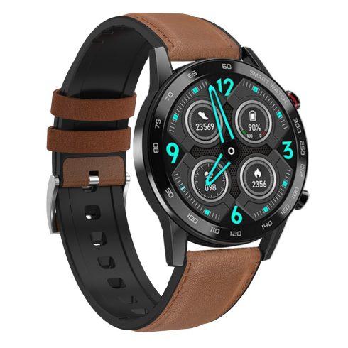 Safako SWP95 BT, ceas inteligent, negru - curea silicon cu înveliș piele maro