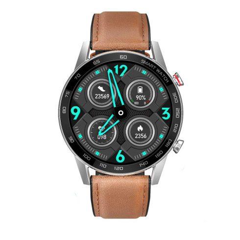 Safako SWP95 BT, ceas inteligent, argintiu - curea silicon cu înveliș piele maro